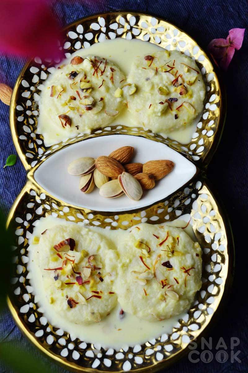 Rasmalai recipe - how to make vrat ki rasmalai - soft rasmalai